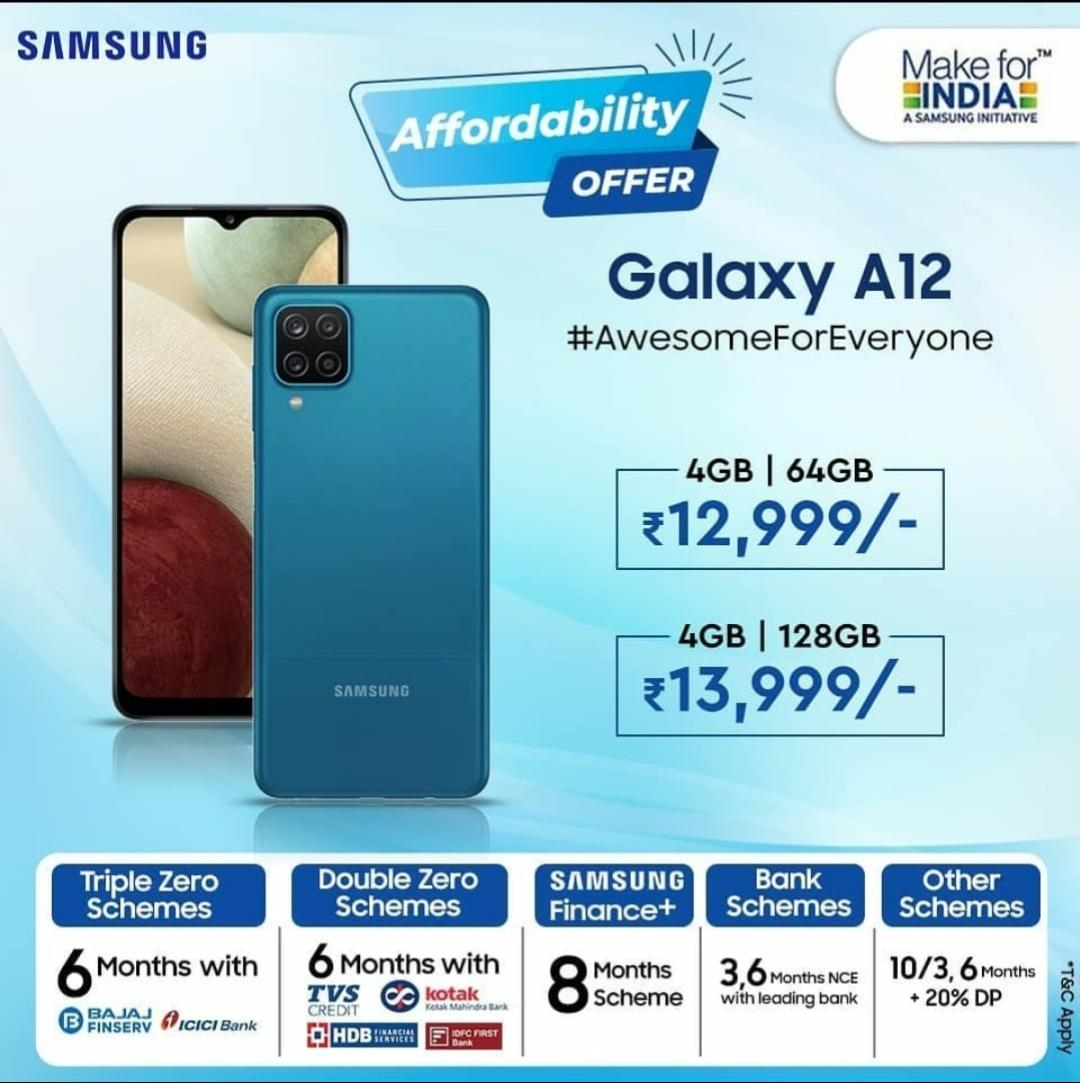 Samsung Galaxy A12 | 5000mah Battery | 4GB/64GB+6GB/128GB Offers