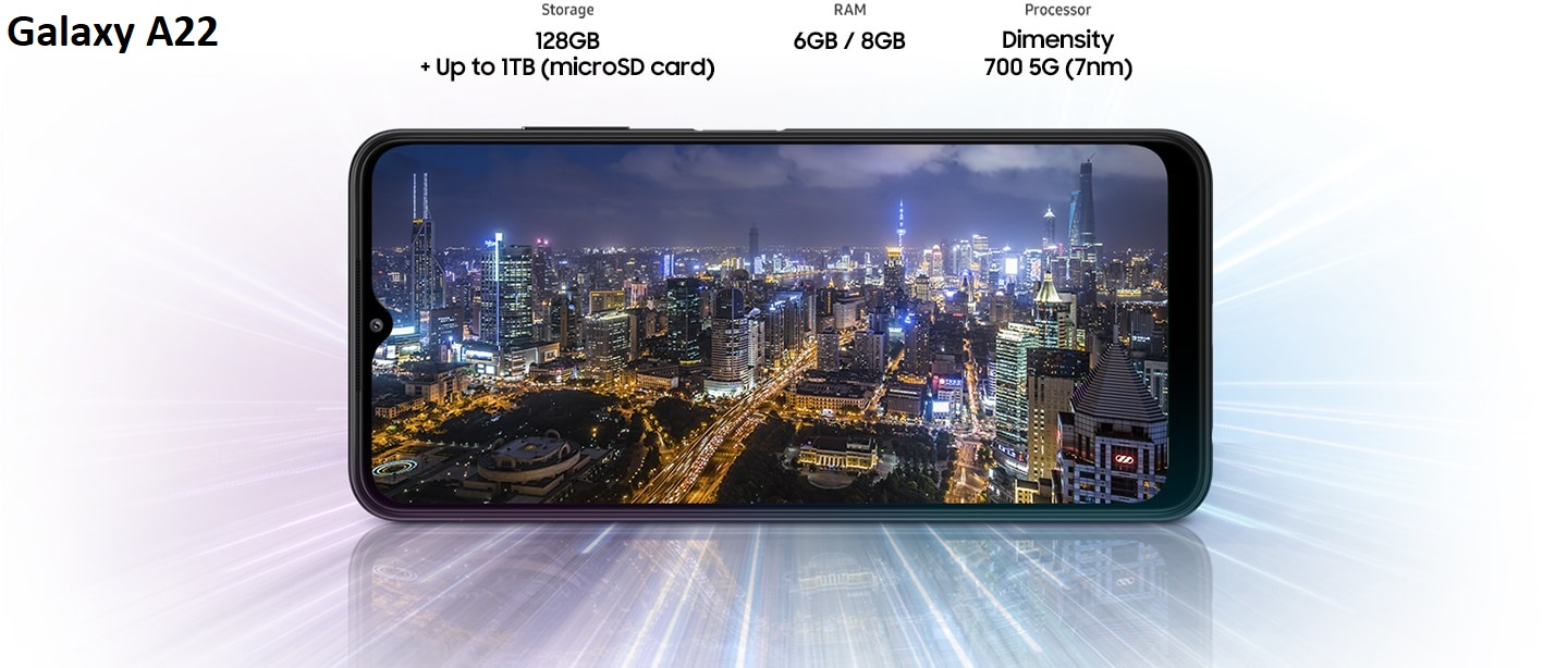Powered by Dimensity 700 5G (7nm) processor with up to 6GB RAM and 128GB internal storage.