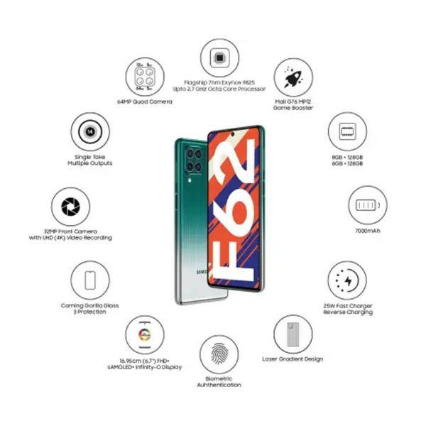"""Galaxy F62 with the Flagship 7nm Exynos 9825 Processor   ultra-powerful 7000mAh Battery   64MP Rear Quad Camera & 32MP Front Camera   immersive 16.95cm (6.7"""") FHD+ sAMOLED+ Infinity-O display"""